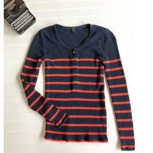 J. Crew Thermal Henley Stripe Waffle Navy Pink XS
